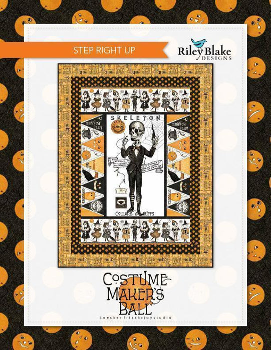 Costume Maker's Ball - per yard - Janet Wecker Frisch- Riley Blake Designs - Ticket Text on Orange - C8368