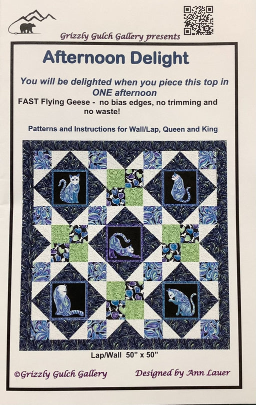 Afternoon Delight - Quilt Pattern - by Ann Lauer - Includes instructions for Wall/Lap, Queen, & King Quilt! Uses Cat-I-Tude Singing the Blues fabric by Ann Lauer! - RebsFabStash