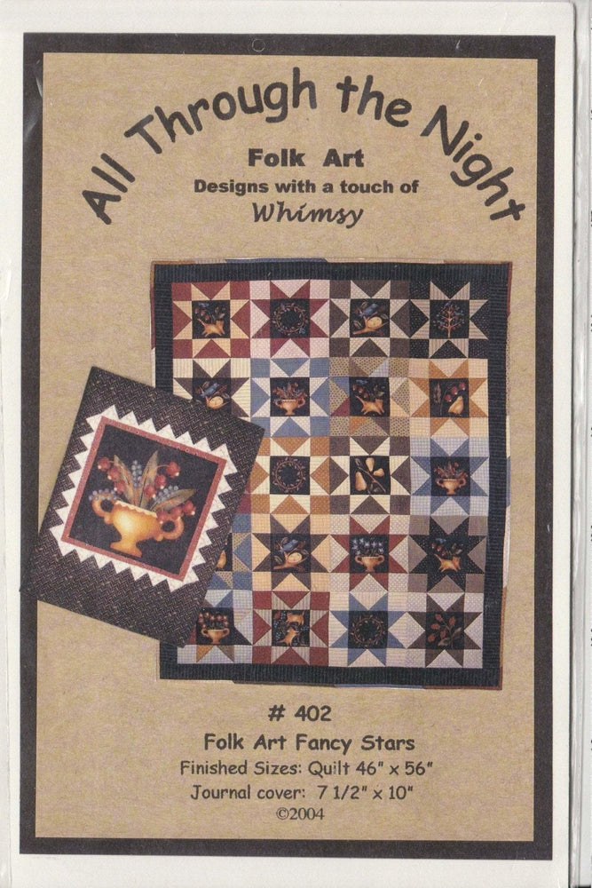 All Through the Night - Folk Art - Designs with a touch of Whimsy - Folk Art Fancy Stars #402, flannel or wool applique pattern - RebsFabStash