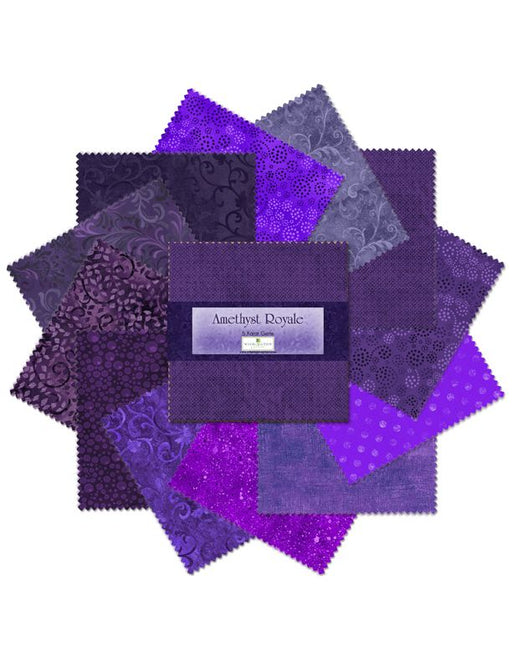 "Amethyst Royale - (42) 5"" squares - Wilmington Prints - Gems - Shades of Purple - Charm Pack - RebsFabStash"