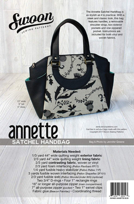 Annette Stachel Handbag - Tote - Swoon Sewing Patterns - bag, purse, tote, handbag - RebsFabStash