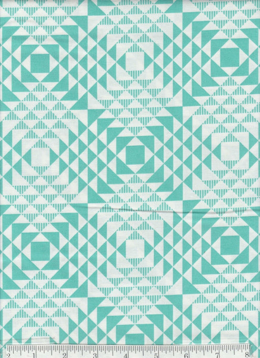 Atrium collection by Joel Dewberry - Free Spirit - Pattern Pyramids, Color Mint or Aqua - RebsFabStash