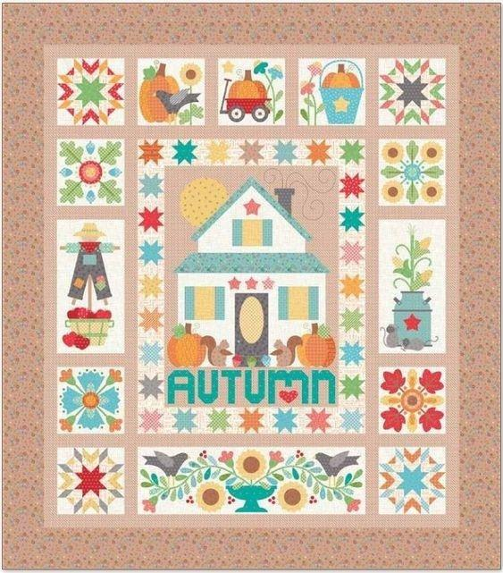 Autumn Love by Lori Holt -per yard - Riley Blake - Autumn Love Sew Along Begins August 20! Orange text on Cream 7361 - RebsFabStash
