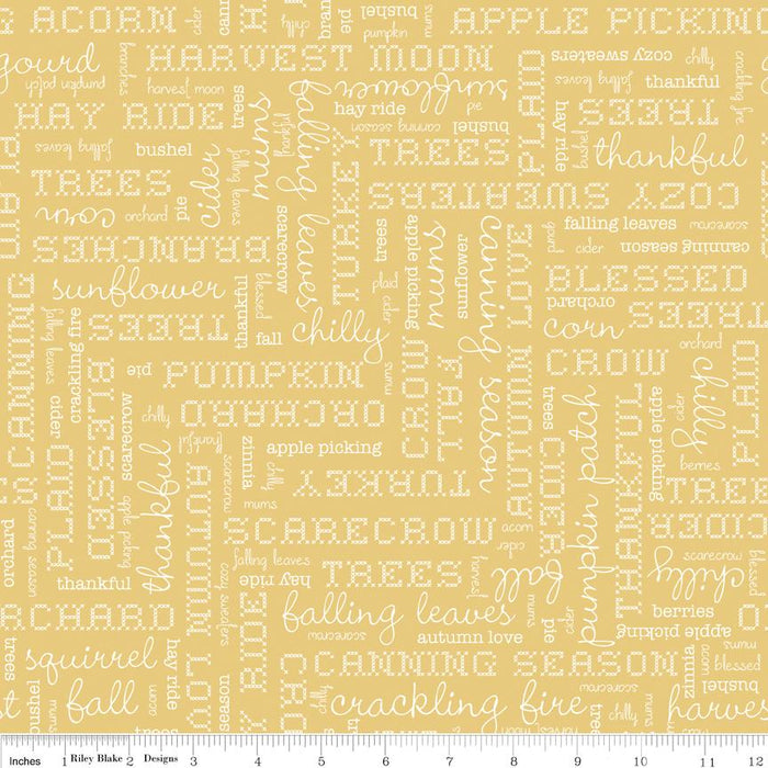 Autumn Love by Lori Holt - per yard - Riley Blake - Autumn Love Sew Along Begins August 20! White Text on Yellow 7361 - RebsFabStash