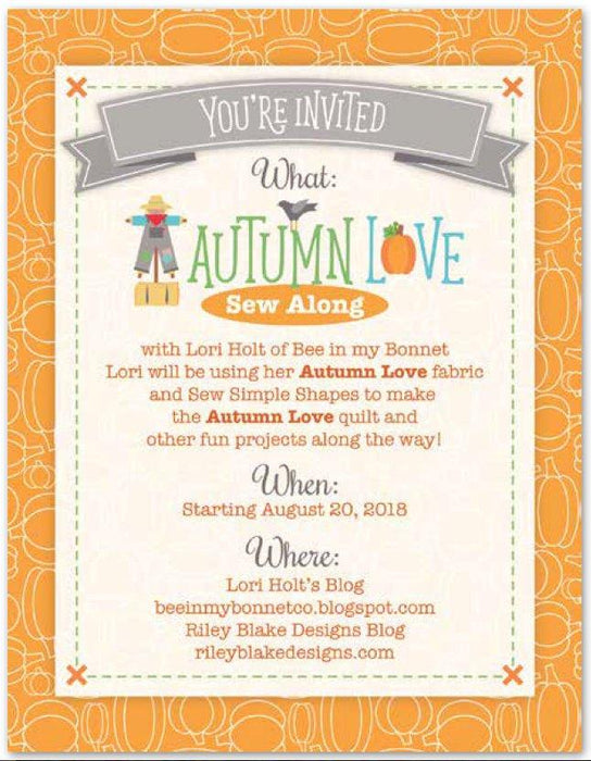 "Autumn Love by Lori Holt - Rolie Polie Jelly Roll (40) 2.5"" pieces - Riley Blake - Autumn Love Sew Along Begins August 20 - RebsFabStash"
