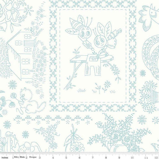 AVAILABLE NOW!! Lori Holt Granny Chic Wide Back Fabrics - per yard - Bee Backings - Riley Blake - Blue on White C8527 - RebsFabStash