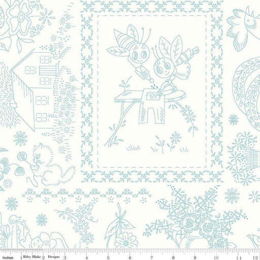 AVAILABLE NOW!! Lori Holt Granny Chic Wide Back Fabrics -REMNANT PIECES - Bee Backings - Riley Blake - Blue on White C8527 - RebsFabStash