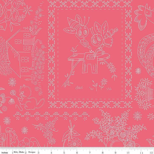 AVAILABLE NOW!! Lori Holt Granny Chic Wide Back Fabrics - REMNANT PIECES - Bee Backings - Riley Blake - White on Pink C8527 - RebsFabStash