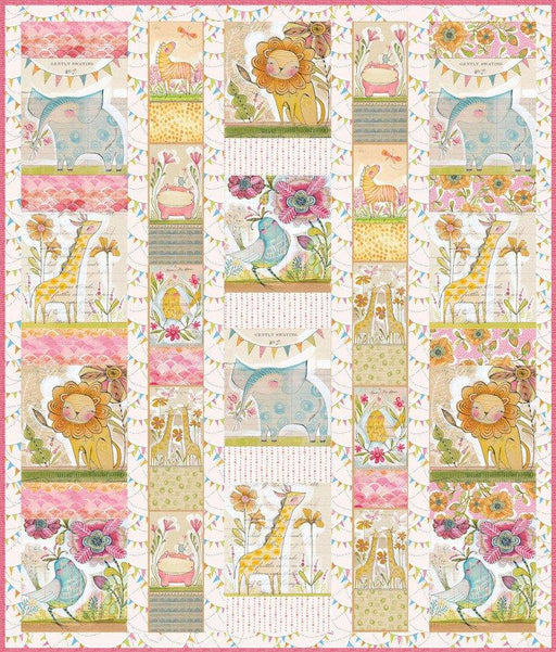 Baby Quilt Kit - Menagerie - Hello World Panels - Cori Dantini - Blend - Option for boy/girl blue/pink! Great gift for shower! - RebsFabStash