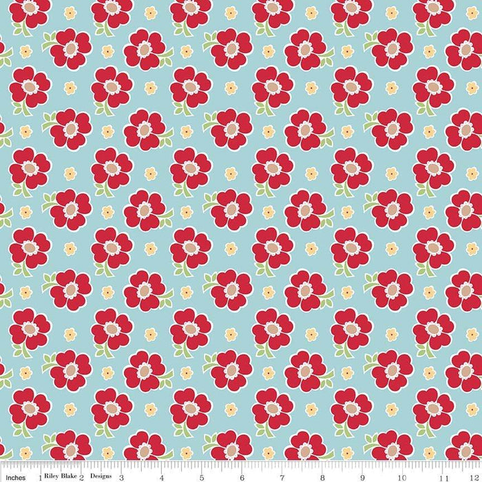 Bake Sale 2 Fabric Collection- by the yard - Lori Holt for Riley Blake Designs - Let's Bake Quilt Along - Aqua Floral - RebsFabStash