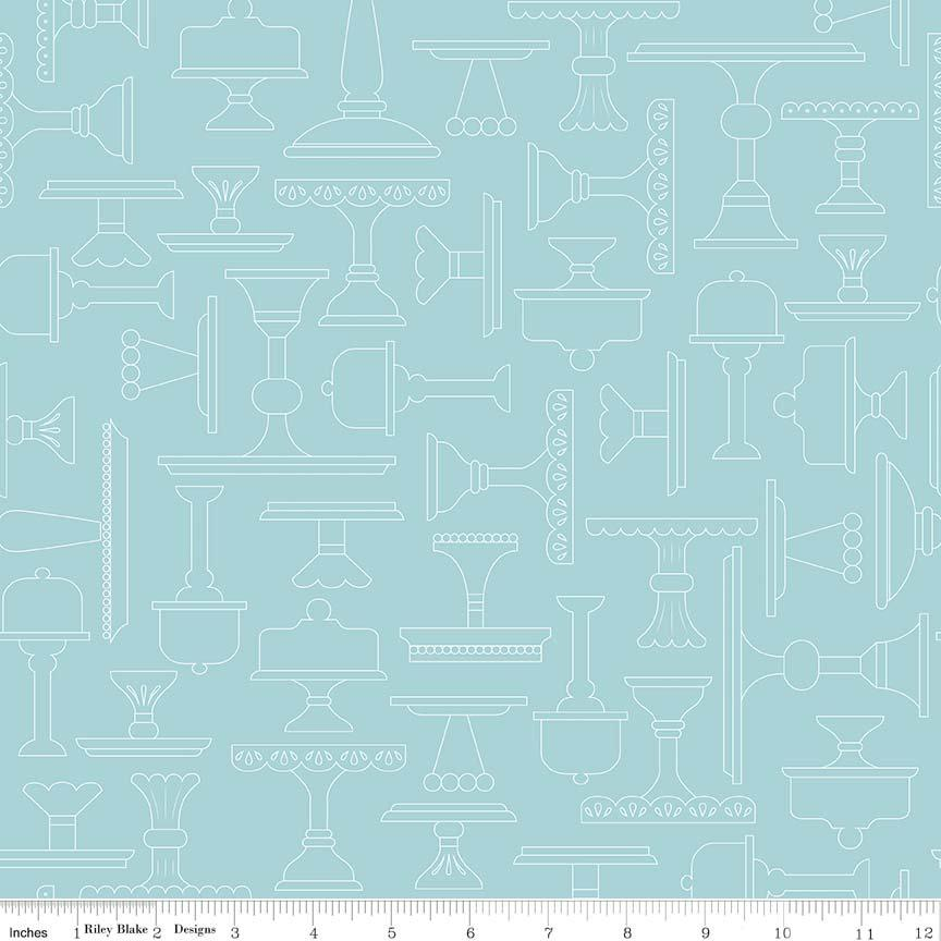 Bake Sale 2 Fabric Collection- by the yard - Lori Holt for Riley Blake Designs - Let's Bake Quilt Along - Aqua Plate (Low Volume) blender - RebsFabStash