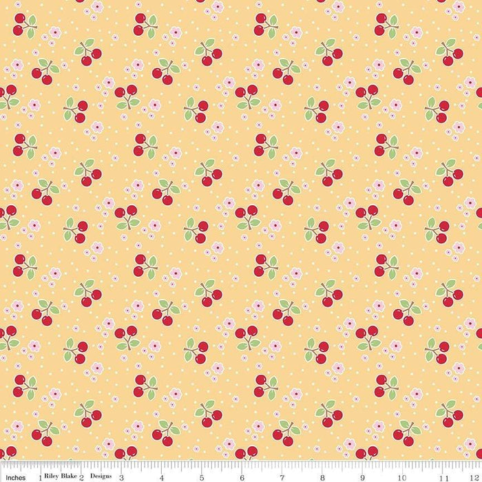 Bake Sale 2 Fabric Collection- by the yard - Lori Holt for Riley Blake Designs - Let's Bake Quilt Along (C) - Cherries on yellow - RebsFabStash