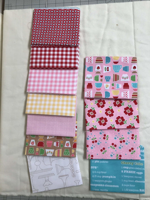 Bake Sale 2 Fabric Collection- by the yard - Lori Holt for Riley Blake Designs - Let's Bake Quilt Along (C) - Main Print on Green - RebsFabStash