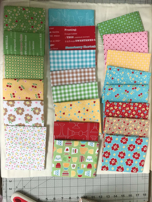 Bake Sale 2 Fabric Collection- by the yard - Lori Holt for Riley Blake Designs - Let's Bake Quilt Along (C) - Red recipe - RebsFabStash