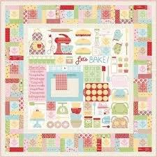 Bake Sale 2 Fabric Collection- by the yard - Lori Holt for Riley Blake Designs - Let's Bake Quilt Along (C) - Strawberries on green - RebsFabStash