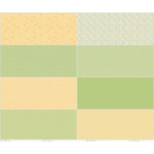 Bake Sale 2 Fabric Collection- by the yard - Lori Holt for Riley Blake Designs - Let's Bake Quilt Along - Green Yellow F8 Panel - RebsFabStash