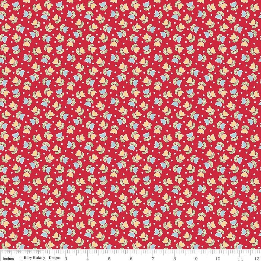 Bake Sale 2 Fabric Collection- by the yard - Lori Holt for Riley Blake Designs - Let's Bake Quilt Along - Small tulips on red - RebsFabStash