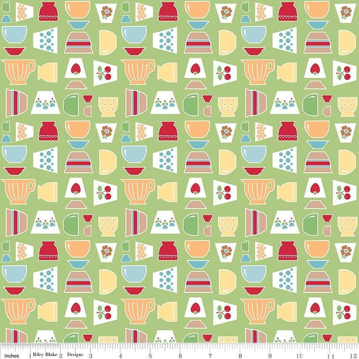 Bake Sale 2 Fabric Collection- by the yard - Lori Holt for Riley Blake Designs - Let's Bake Quilt Along - Strawberries on aqua - RebsFabStash