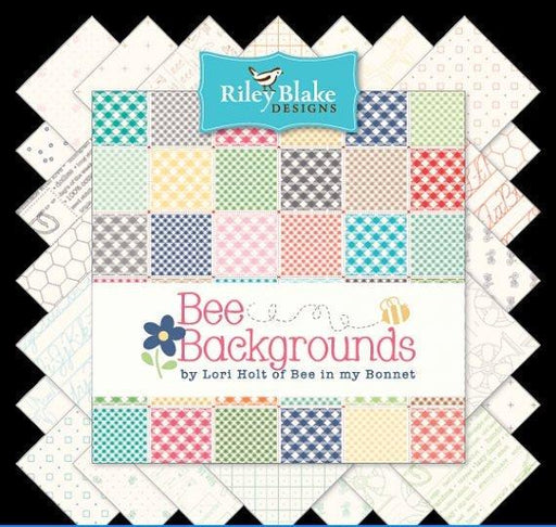 "Bee Backgrounds - Charm Pack (42) 5"" squares - Riley Blake - by Lori Holt - Join in on the FREE Quilt Along - Low Volume Prints - RebsFabStash"