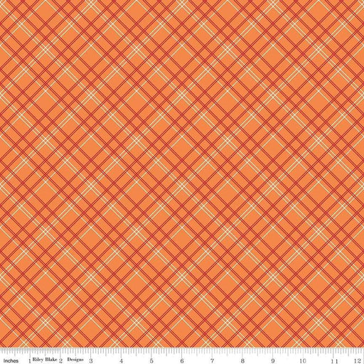 "Bee Backings! - Quilt Back Fabric - Riley Blake - by Lori Holt - 108"" wide diagonal / bias Plaid on orange WB 6422-ORANGE - RebsFabStash"