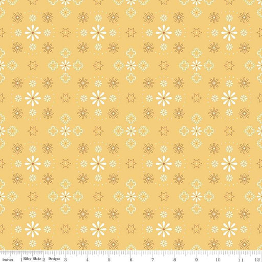 "Bee Backings! - Quilt Back Fabric - Riley Blake - by Lori Holt - 108"" wide - Honey - Yellow WB6420 honey - RebsFabStash"