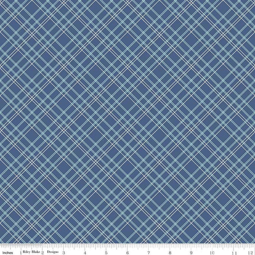 "Bee Backings! - Quilt Back Fabric - Riley Blake - by Lori Holt - 108"" wide Plaid on navy blue WB 6422 - RebsFabStash"