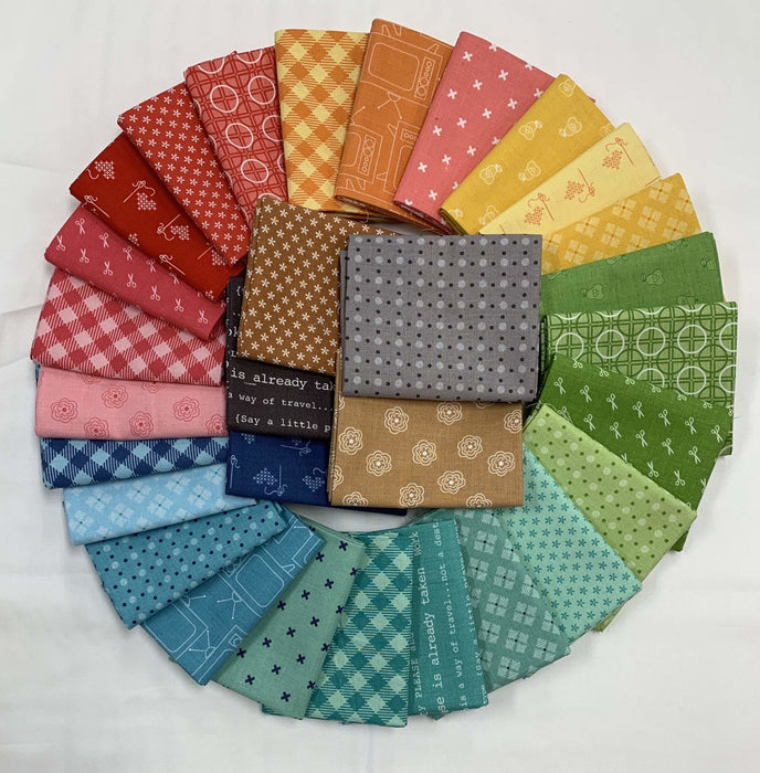 "Bee Basics by Lori Holt - COMPLETE HALF YARD Bundle (30) 18"" x 42"" pieces - Riley Blake Designs - Rainbow of colors and adorable prints! - RebsFabStash"