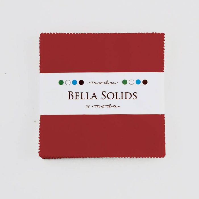 "Bella Solids - Charm Pack - Moda - (42) 5"" Squares - Christmas Red # 16 - RebsFabStash"