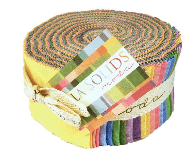 "Bella Solids - Jelly Roll - Moda - (40) 2.5"" Strips - Spring Colors - Pink, yellow, blue, green, purple - 30s Co JR 23 - RebsFabStash"