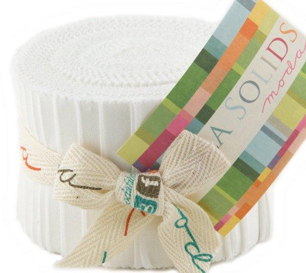 "Bella Solids - Jr Jelly Roll - Moda - (20) 2.5"" Strips - White # 98 - RebsFabStash"