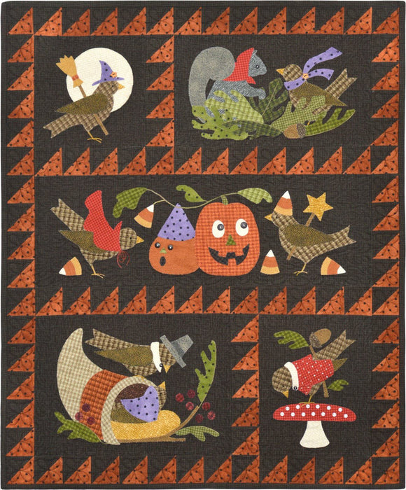 Bertie's Autumn - Block of the Month Quilt Pattern - Bonnie Sullivan - Complete Set 4 blocks - Flannel or Wool Applique - RebsFabStash