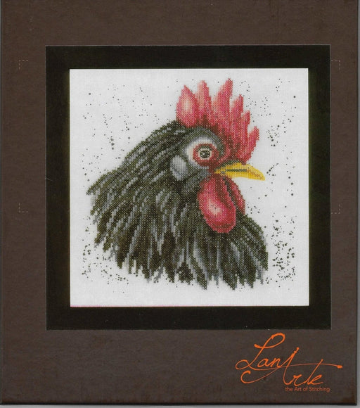 Black Chicken - Lanarte Cross Stitch Collection - Linen (30 ct) Complete Counted Cross Stitch Kit - RebsFabStash