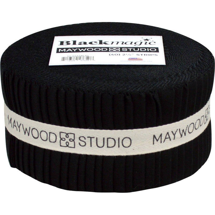 "Black Magic - Jelly Roll (42) 2.5"" strips - Maywood Studio - Black Solid - C - RebsFabStash"