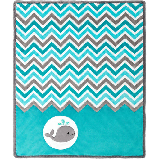 Blanket / Quilt Kit - Baby Blanket - Uses Shannon Cuddle fabric - Bambino Ziggy Moby - Whale - aqua, baby, child, gender neutral - RebsFabStash