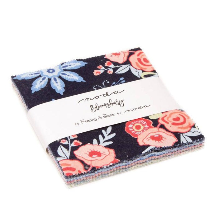 "Bloomsbury Collection by Franny & Jane for Moda - Charm pack (42) 5"" squares - beautiful floral in blues, peaches, greens, creams, greys - RebsFabStash"