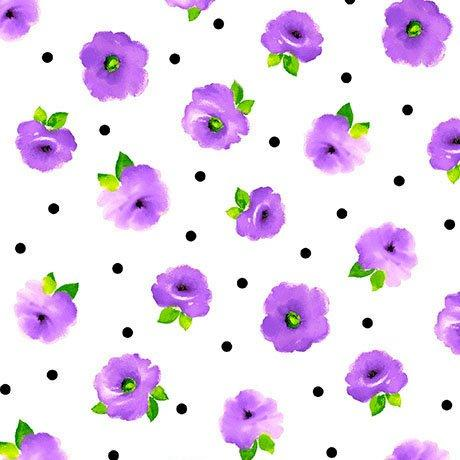 Brooke Fabric Collection by Studio 8 - Per Yard - Quilting Treasures - Shannon Ownby Quilt Along - Tossed purple flowers on white - RebsFabStash