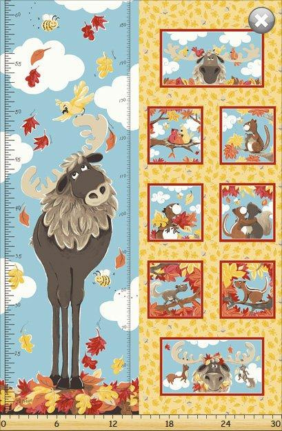 Bruce the Moose - by Susybee fabrics - Susy Bleasby - Growth Chart Project Panel - Use this panel for a wall hanging or a crib quilt! - RebsFabStash