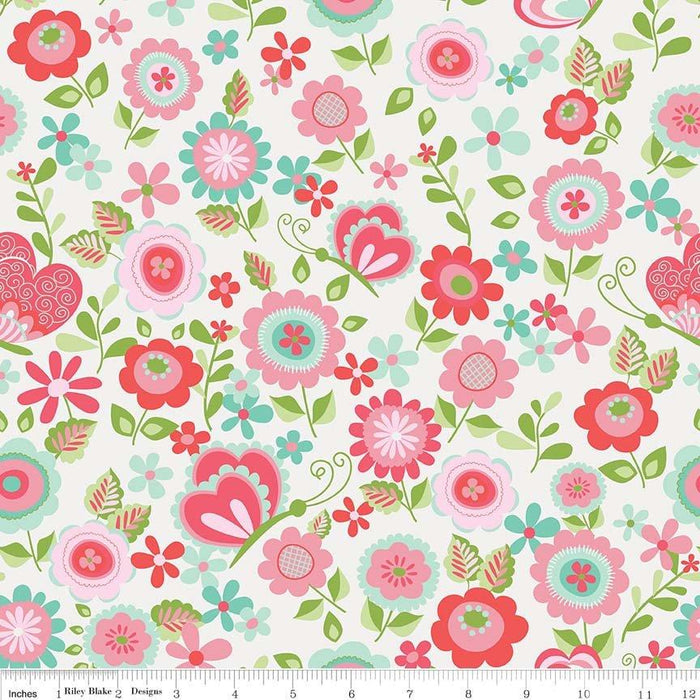 Butterflies & Berries Fabric Collection by Riley Blake Designs - By The Yard - Border print on white - C - RebsFabStash
