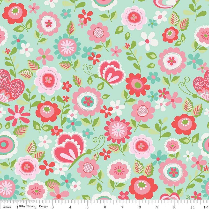Butterflies & Berries Fabric Collection by Riley Blake Designs - By The Yard - Main print on Mint - butterflies and flowers- C6940 - RebsFabStash