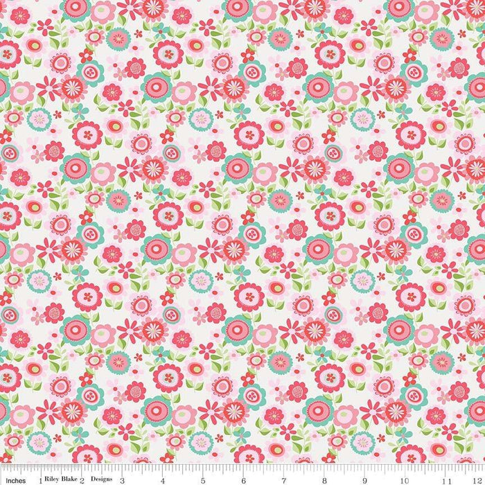 Butterflies & Berries Fabric Collection by Riley Blake Designs - By The Yard - red hearts on white - C6944 - RebsFabStash