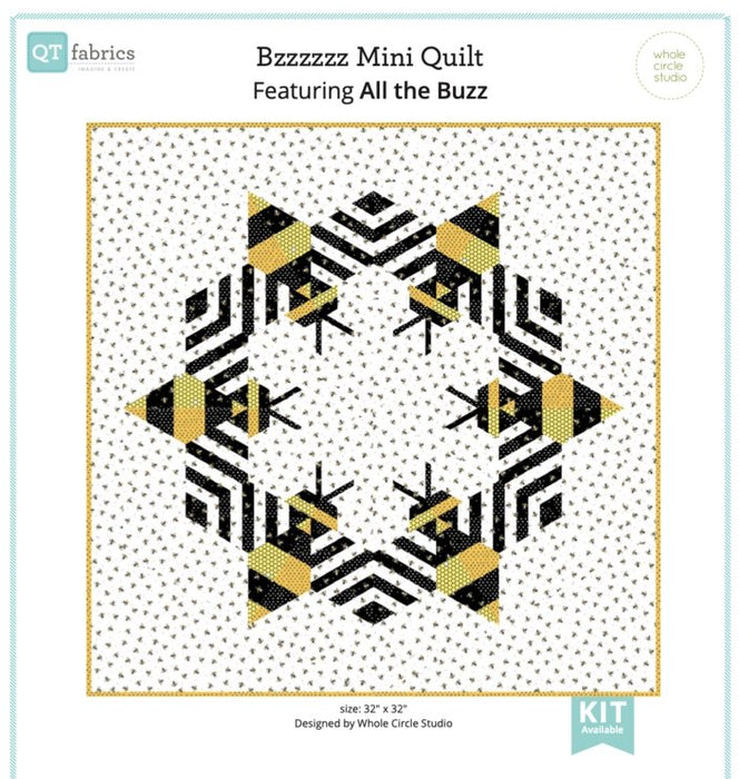 Bzzzzzz Mini Quilt Kit - Uses All the Buzz by Monika Zhu for Ink & Arrow - Pattern by Whole Circle Studio - Quilting Treasures - RebsFabStash