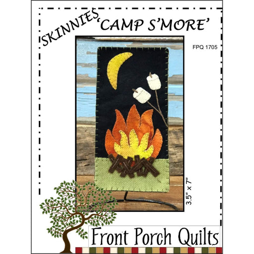 "Camp S'More - Skinnies - complete kit with wool and pattern - Front Porch Quilts - Finished size 3.5"" x 7"" - Wall Hanging, camping, fire - RebsFabStash"