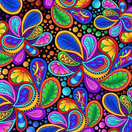 CARNIVALE fabric collection - Quilting Treasures - Debi Payne - Bright colors! Multi colored Packed Paisleys on Black - RebsFabStash