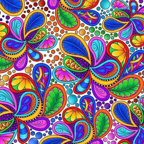 CARNIVALE fabric collection - Quilting Treasures - Debi Payne - Bright colors! Multi colored Packed Paisleys on White - RebsFabStash