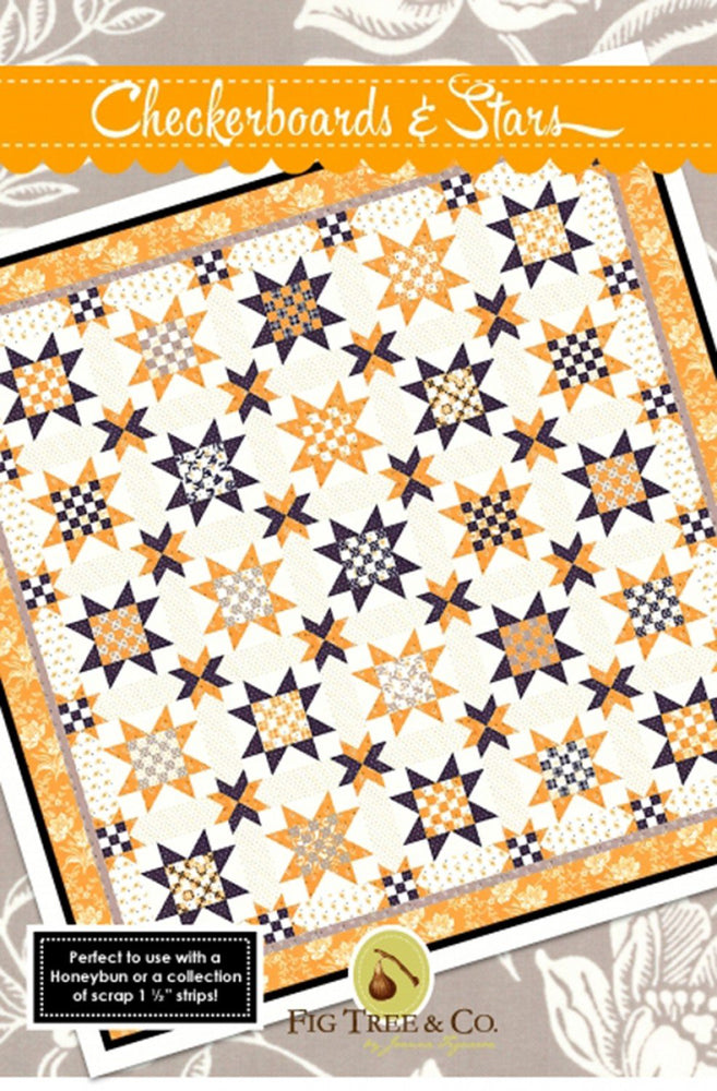 Checkerboards & Stars - by Fig Tree & Co. - Halloween quilt pattern - by Joanna Figueroa - RebsFabStash