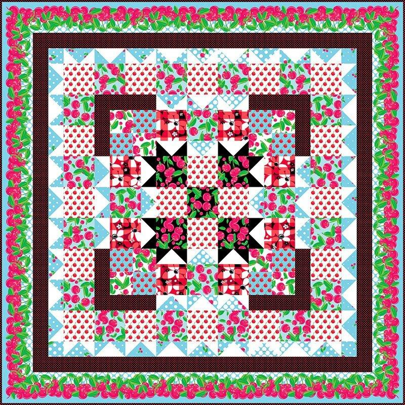 "Cherry Picking Time Quilt Kit - Benartex - 52"" x 52"" - Cherries Jubilee Collection - RebsFabStash"