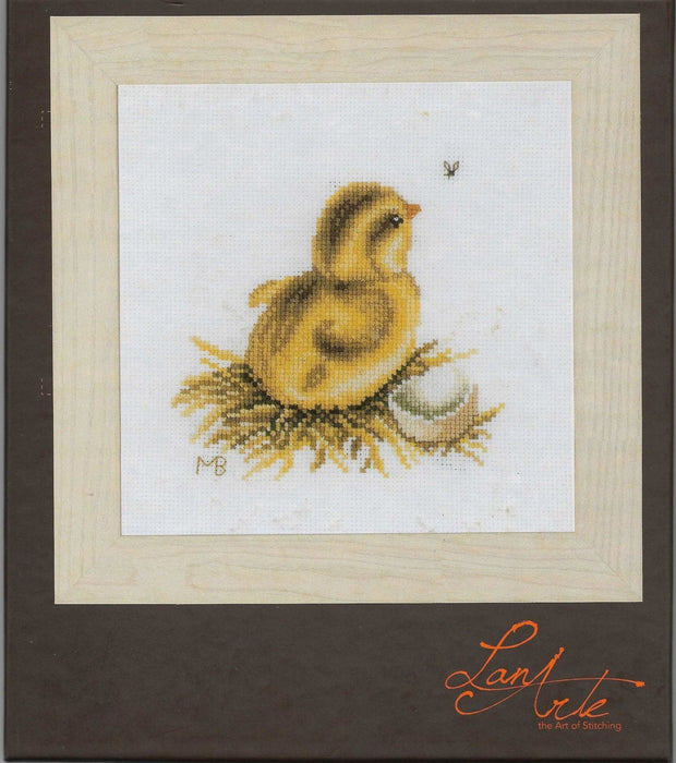 Chick with Eggshell - Marjolein Bastin - Lanarte Home & Garden Collection - DMC Aida Fabric (18 ct) Complete Counted Cross Stitch Kit - RebsFabStash