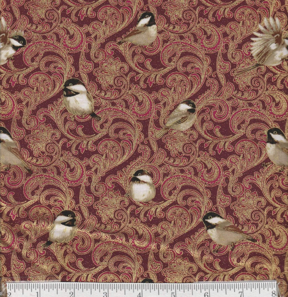 Chickadees and Berries - per yard - Benartex - Chicadees on Red - Gold Damask - RebsFabStash
