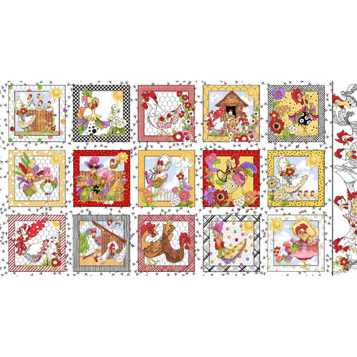 Chicken Chique - Panel- White - Loralie Harris Designs - Chic Chicks on White - Panel - RebsFabStash