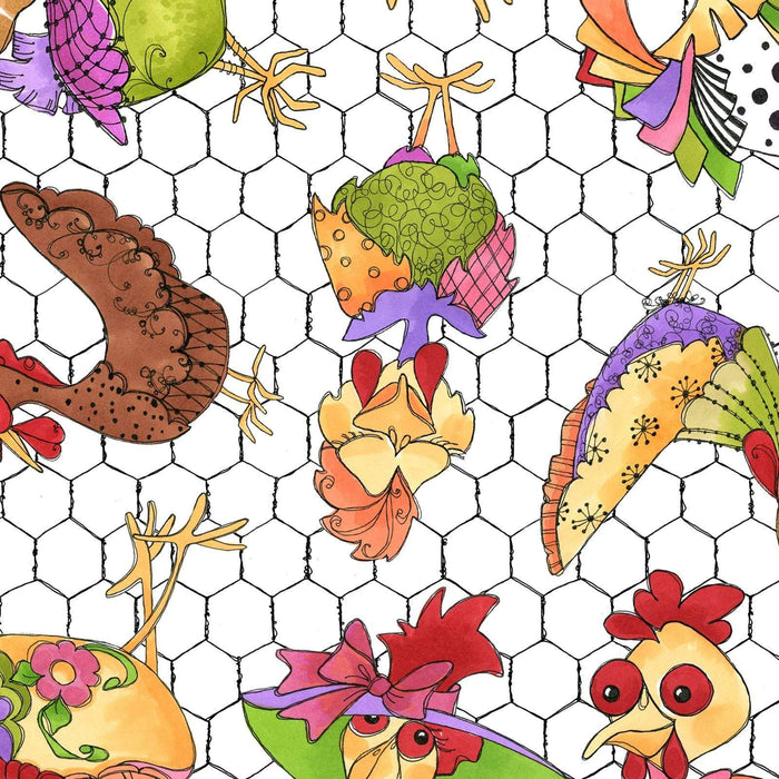 Chicken Chique - Per yard- Loralie Harris Designs - Chicks on Yellow - RebsFabStash